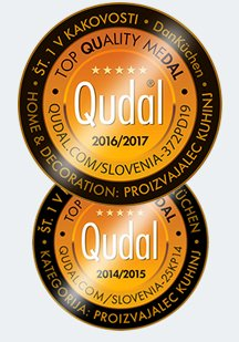 Montaža kuhinj po Ljubljani, montaža kuhinj Dankuchen, montaža kuhinj po Sloveniji, montaža kuhinj po meri medalja Qudal